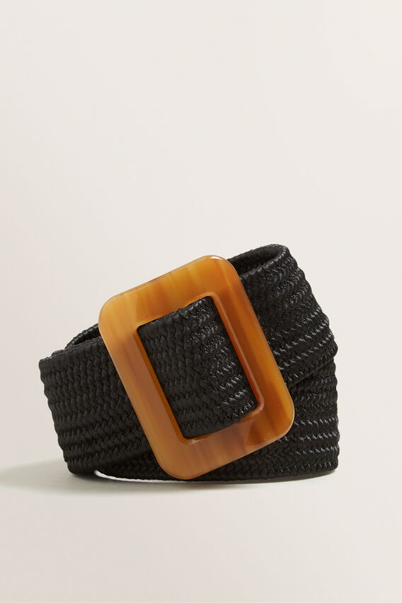 Horn Buckle Waist Belt  BLACK  hi-res