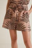 Linen Blend Retro Short, PAISLEY PALM, hi-res