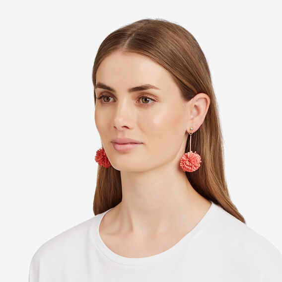 Ruffle Pom Pom Earrings  SALMON ROSE  hi-res