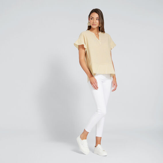 Comfy Frill Sleeve Top  BRONZE MIST STRIPE  hi-res