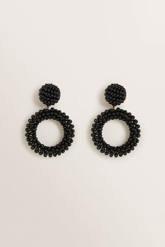 Mini Beaded Drop Earrings  BLACK  hi-res