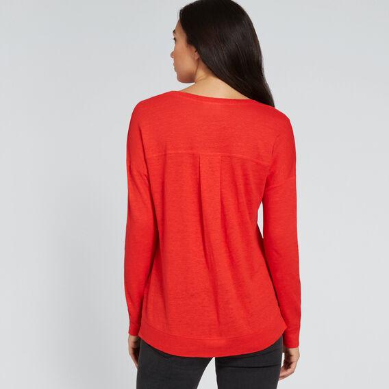 Side Split Linen Top  FIERY RED  hi-res