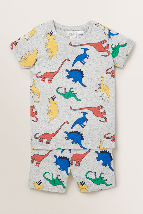 Colour Block Dino Pyjama  CLOUDY MARLE  hi-res