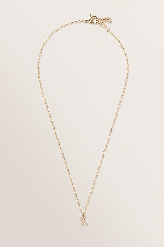 Initial Pearl Necklace  K  hi-res