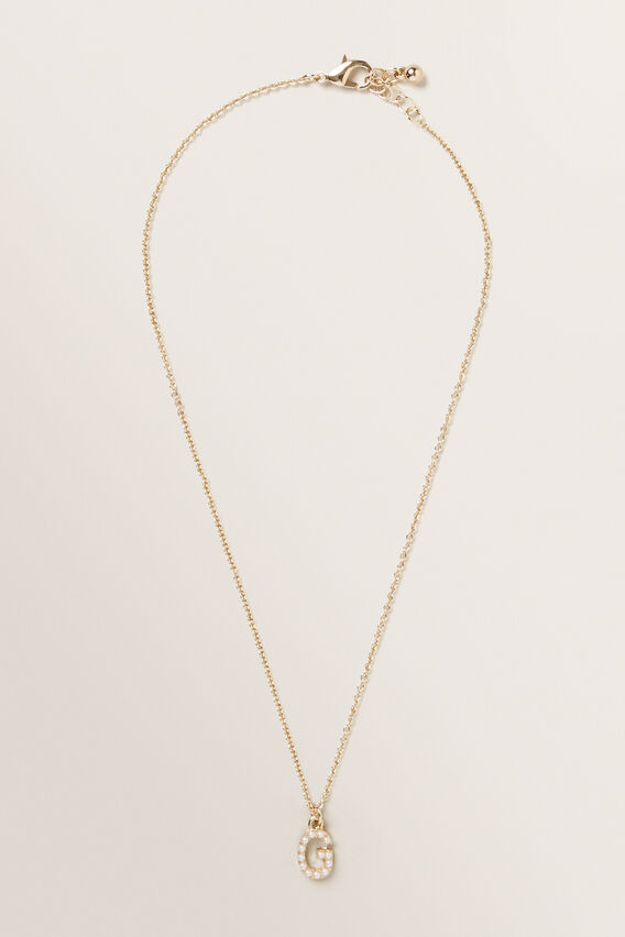 Initial Pearl Necklace  G  hi-res