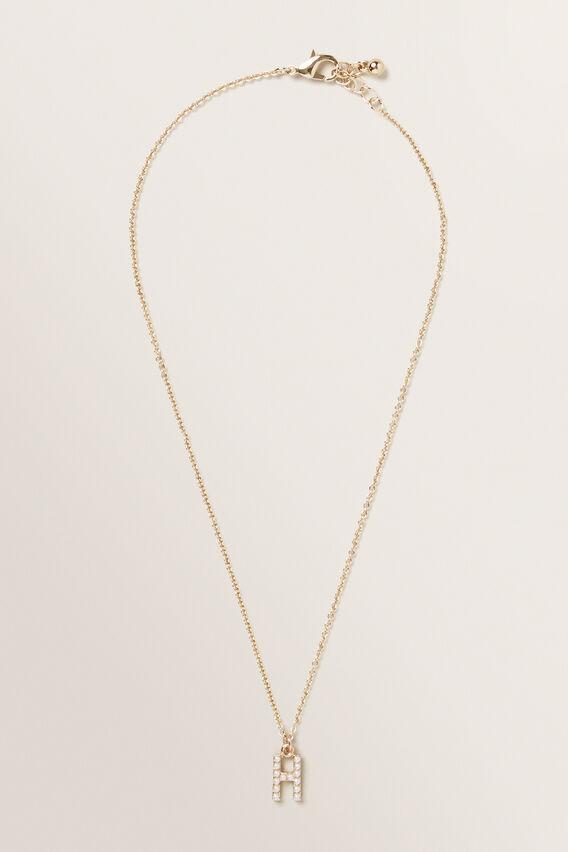 Initial Pearl Necklace  H  hi-res