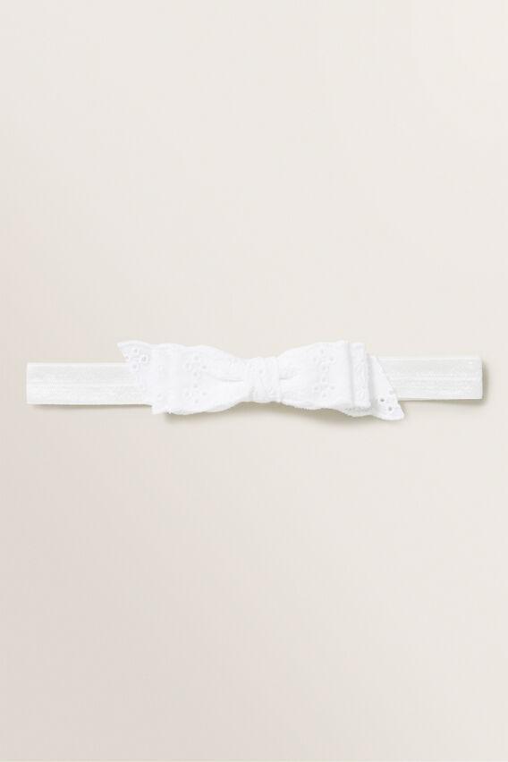 Broderie Bow Headband  WHITE  hi-res