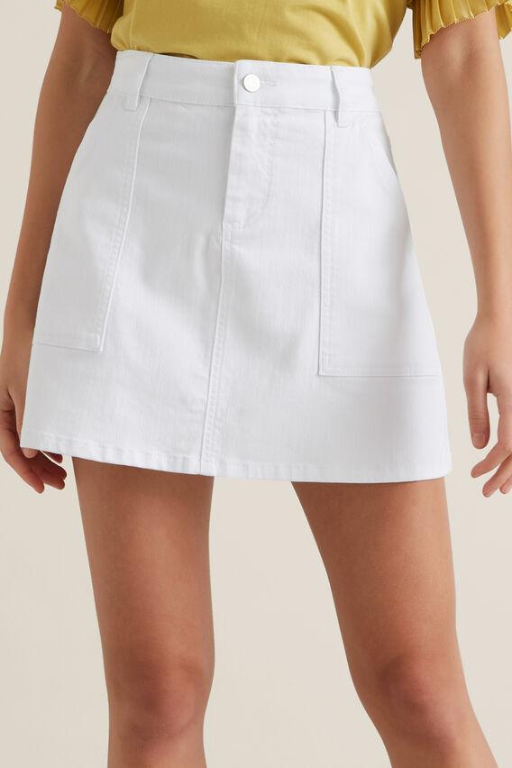 A-Line Denim Mini Skirt  WHITE  hi-res