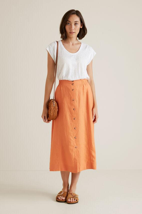 Linen Flowing Skirt  SOFT CORAL  hi-res