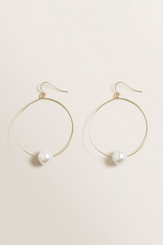 Simple Pearl Hoops  GOLD  hi-res