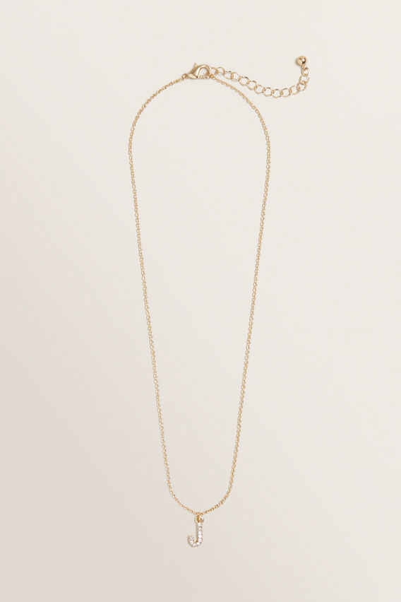 Diamante Initial Necklace  J  hi-res