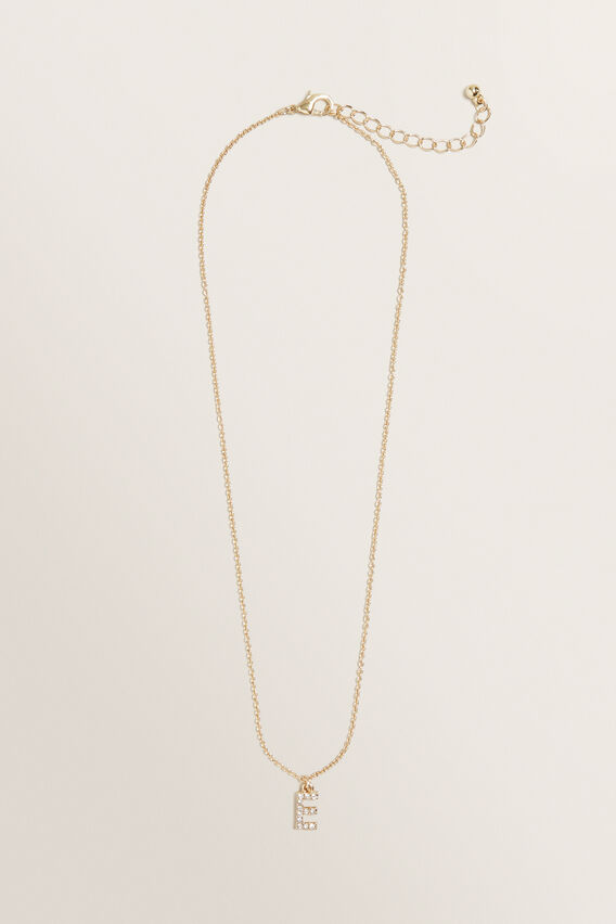 Diamante Initial Necklace  E  hi-res