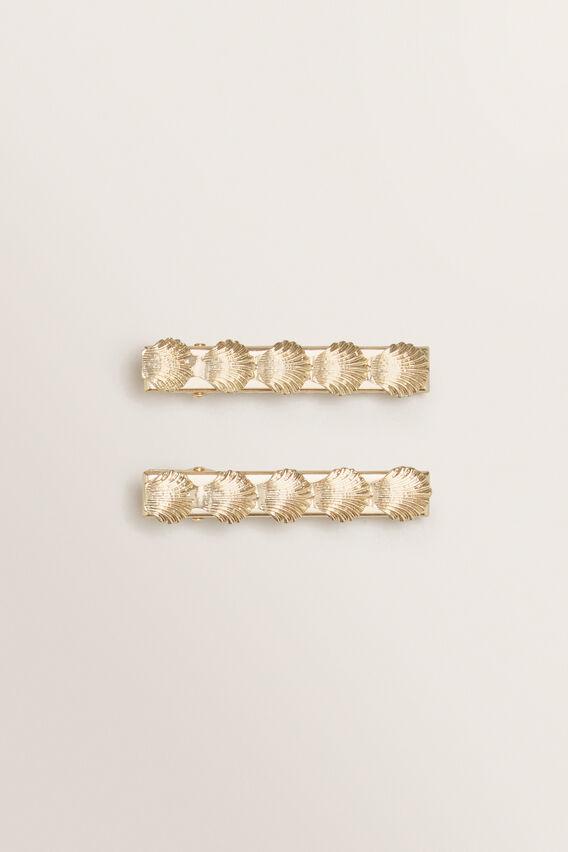 Shell Hair Clips  GOLD  hi-res