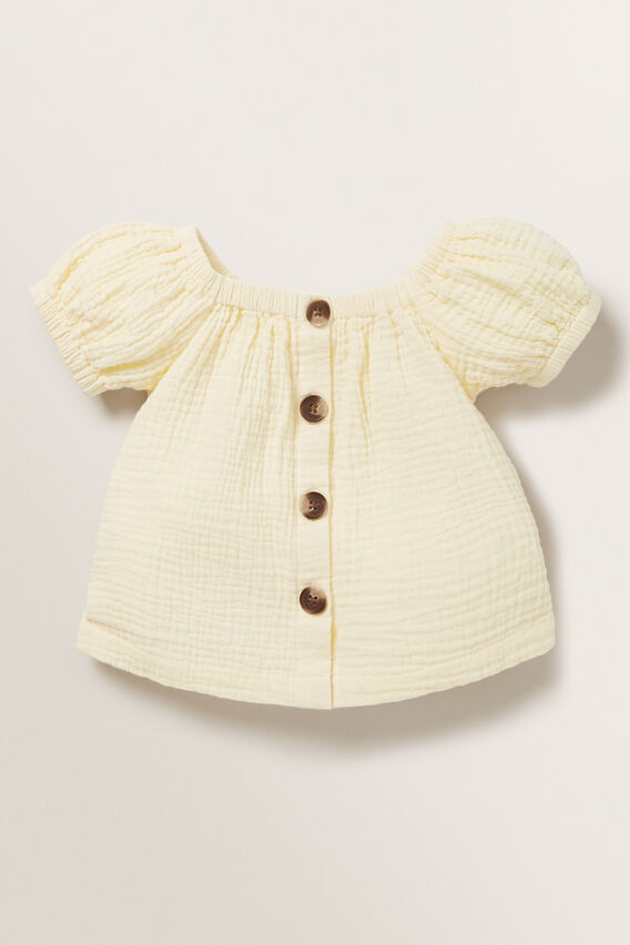 Cheesecloth Button Top  LEMON  hi-res