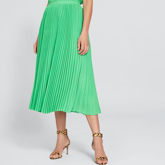 Pleated Crinkle Skirt  WASHED GREEN  hi-res