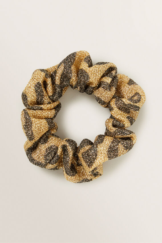 Lurex Zebra Scrunchie  GOLD  hi-res