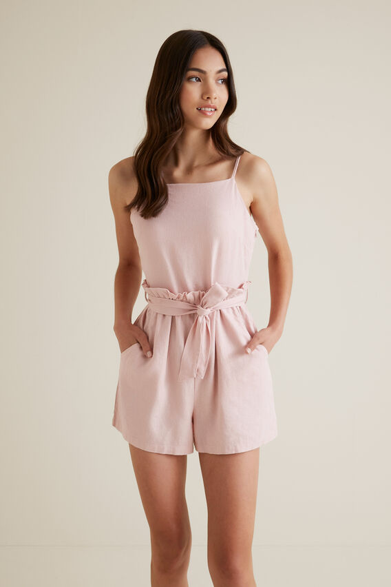 Linen Blend Playsuit  CLAY PINK  hi-res