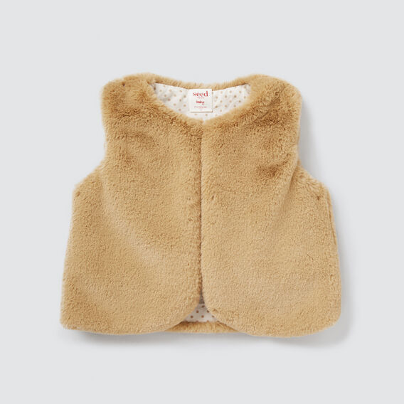 Faux Fur Vest  TAN  hi-res