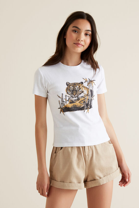 Tiger Motif Tee  WHITE  hi-res