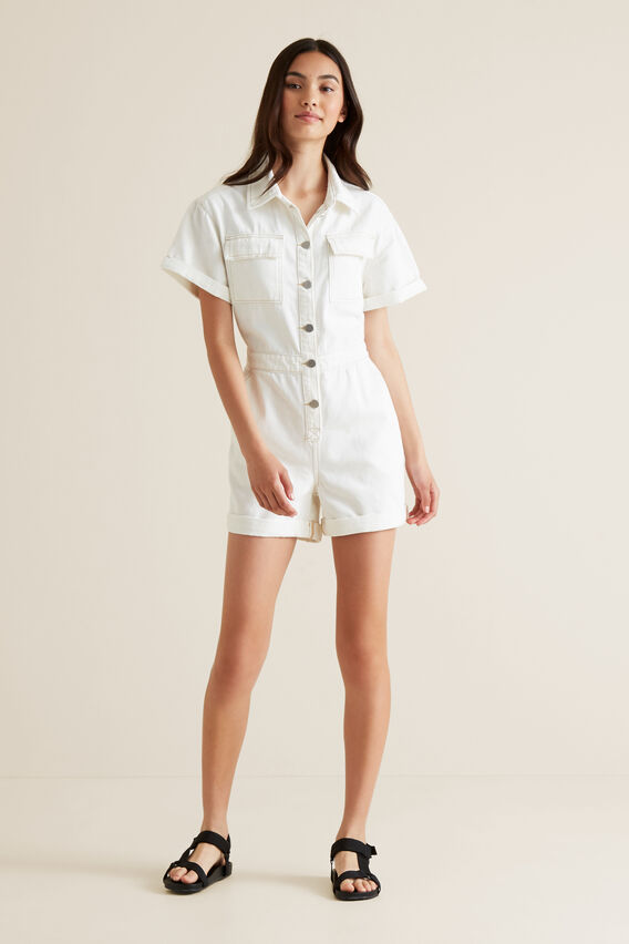 Utility Romper  WHITE WASH  hi-res