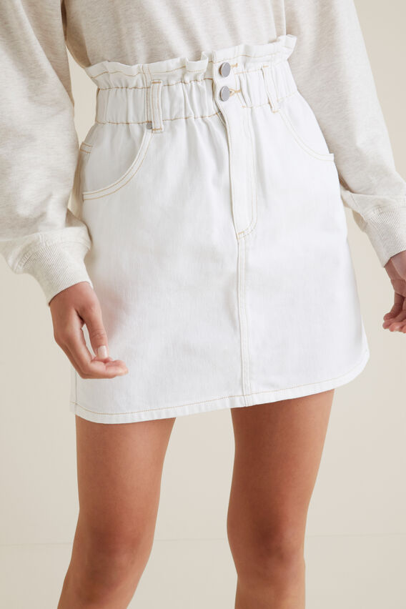 Paperbag Denim Skirt  WHITE WASH  hi-res
