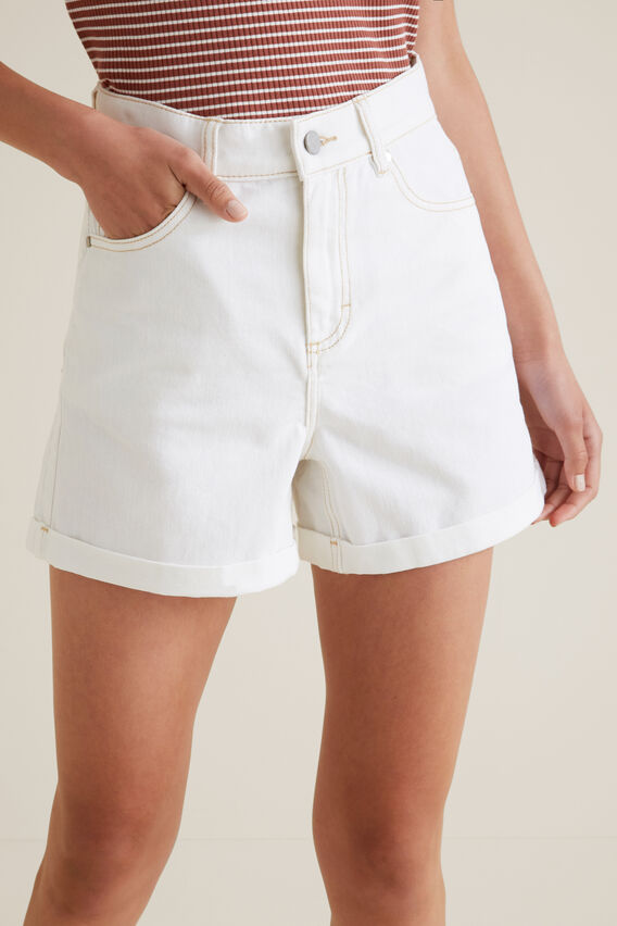 High Rise Denim Short  WHITE WASH  hi-res