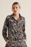 Zebra Voile Shirt, ZEBRA PRINT, hi-res