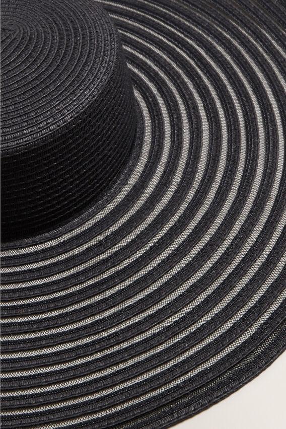 Stripe Brim Boater  BLACK  hi-res