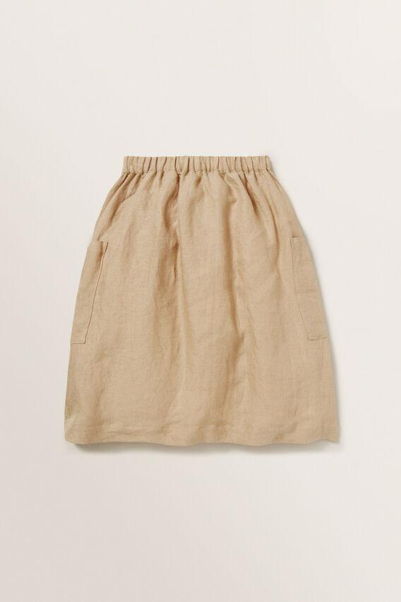 Linen Midi Skirt  WARM TAN  hi-res