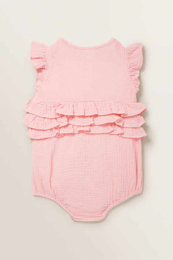 Frill Cheesecloth Onesie  BUBBLEGUM  hi-res