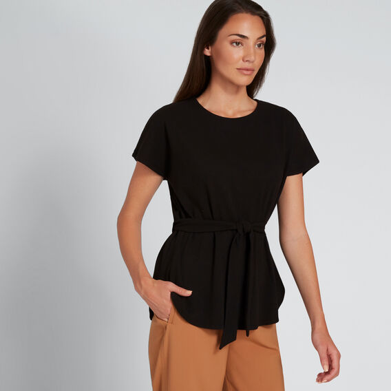 Tie Front Scoop Hem Top  BLACK  hi-res
