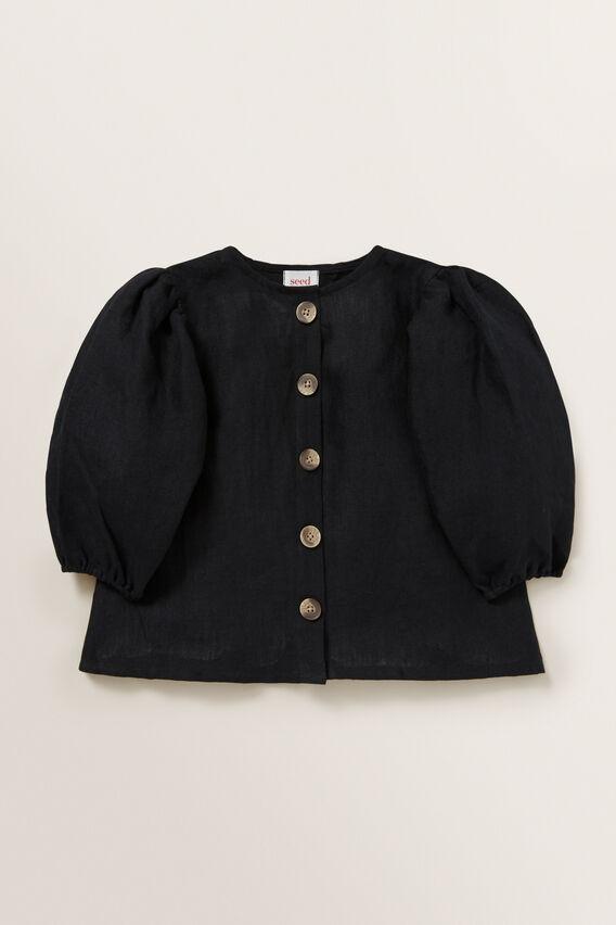 Puff Sleeve Linen Top  BLACK  hi-res