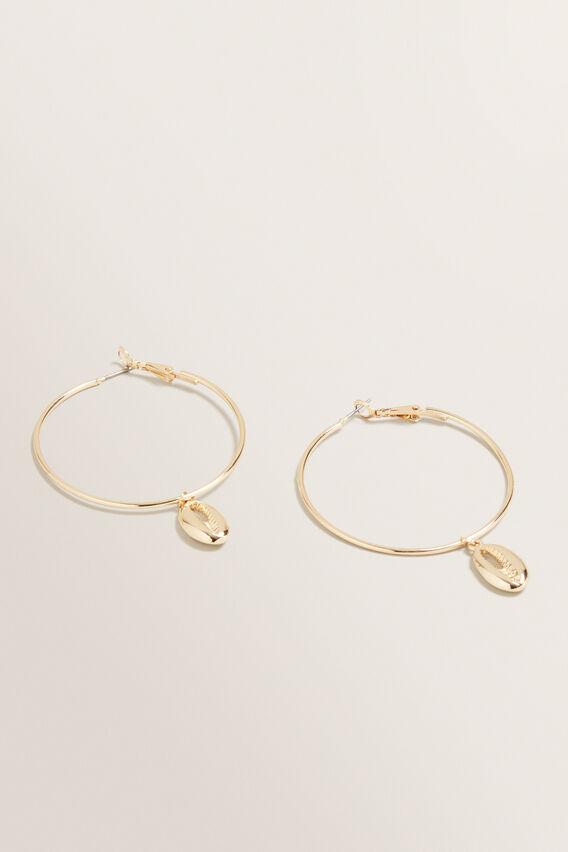 Shell Hoop Earrings  GOLD  hi-res