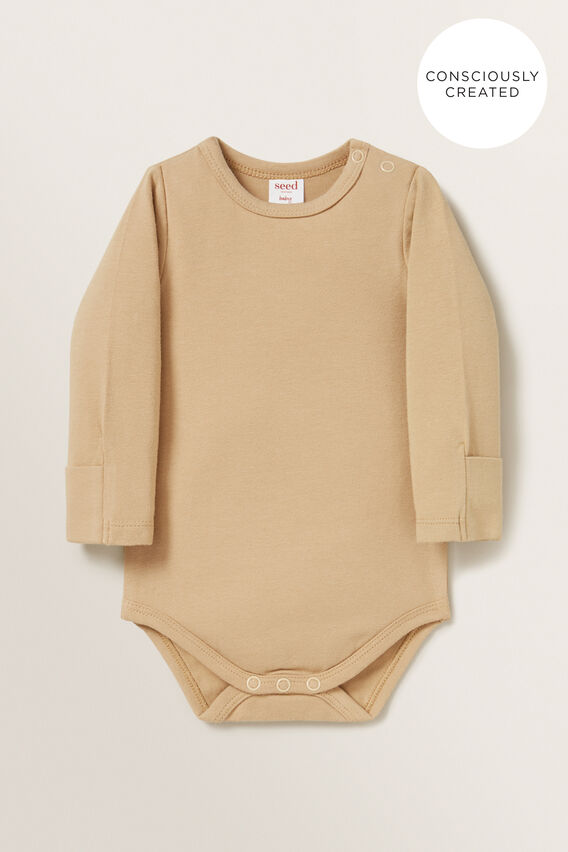 Organic Mitten Bodysuit  WHEAT  hi-res