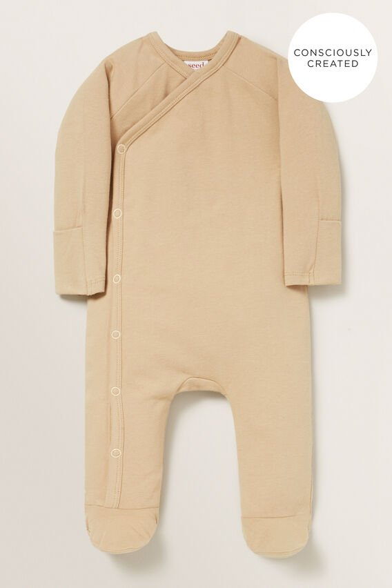Organic Wrap Jumpsuit  WHEAT  hi-res