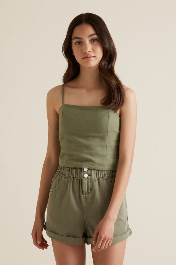 Linen Cropped Top  PALE KHAKI  hi-res