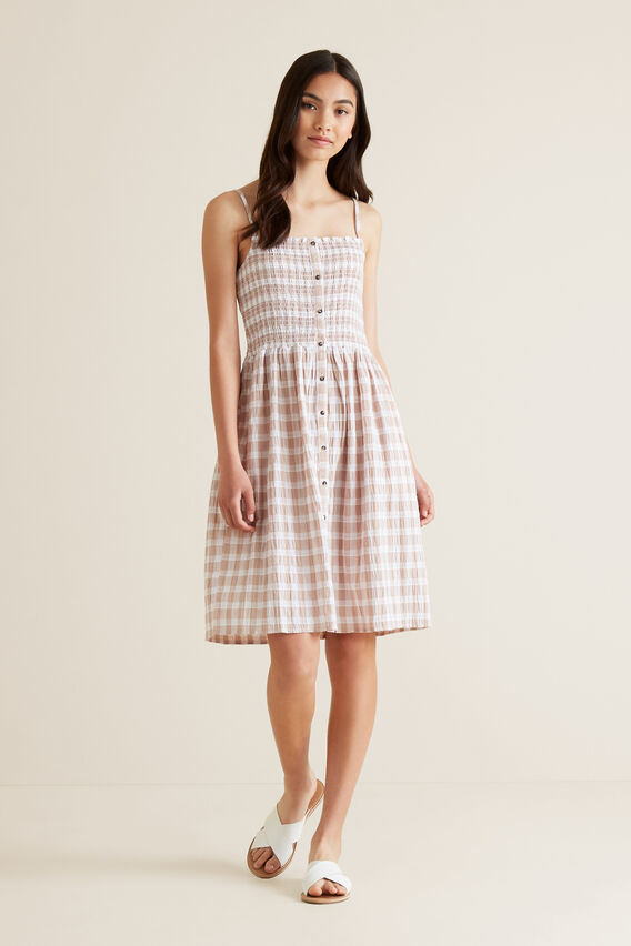 Gingham Day Dress  MOCHA  hi-res