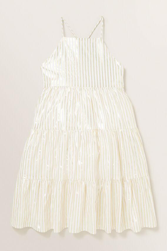 Metallic Stripe Midi Dress  GOLD  hi-res