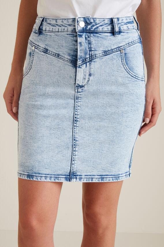 Stitch Denim Skirt  ACID WASH  hi-res