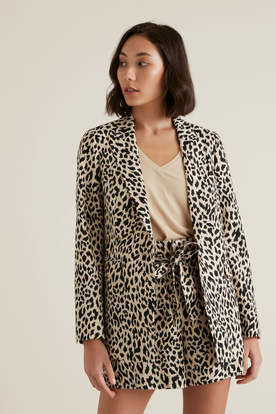 Animal Print Blazer  OCELOT  hi-res