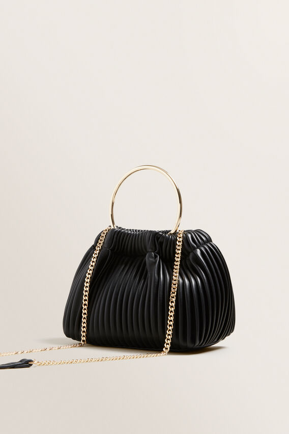 Pleat Ring Handle Sling  BLACK  hi-res