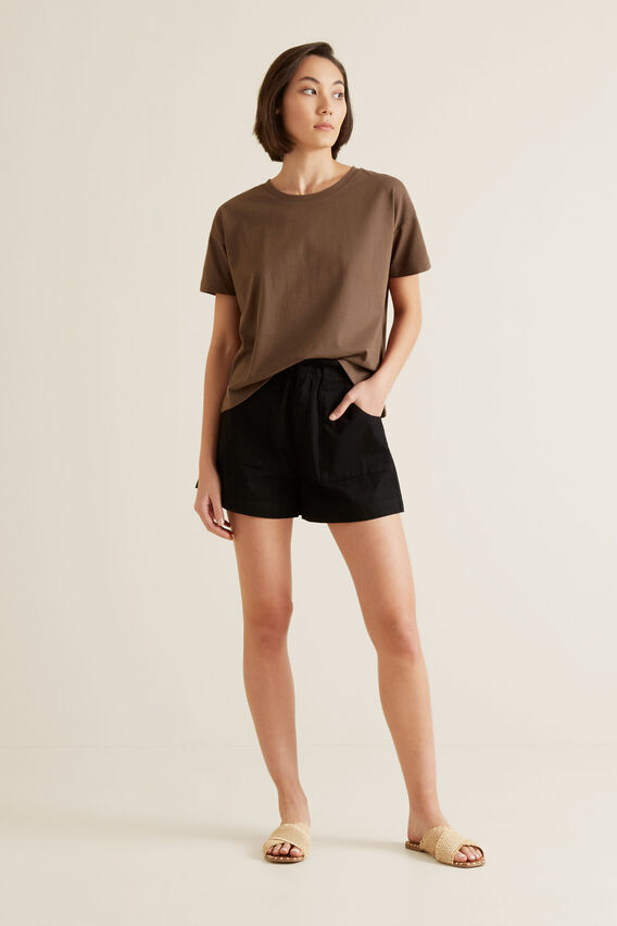Boxy Split Hem Tee  LIGHT CHOCOLATE  hi-res