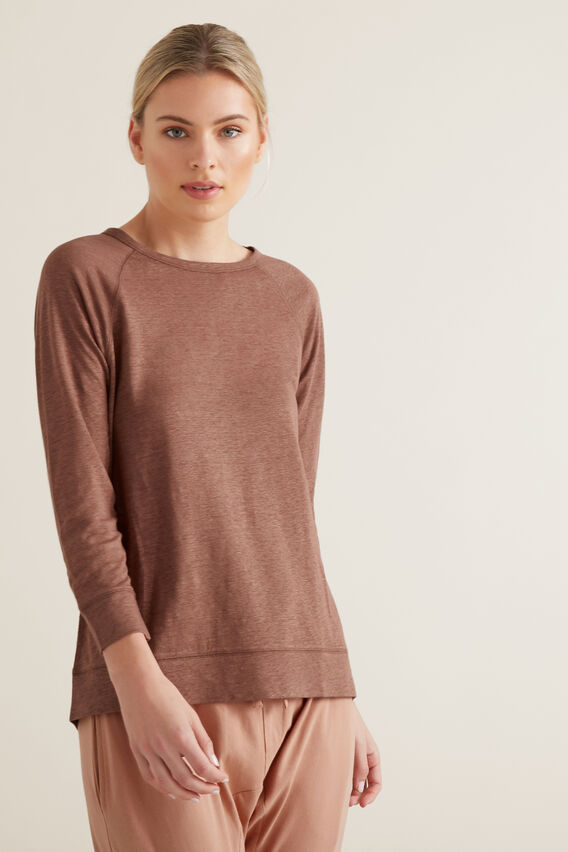 Raglan 3/4 Linen Top  WASHED ROSE  hi-res