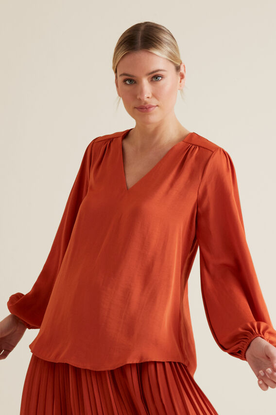 Gathered V Neck Blouse  SUNBURNT ORANGE  hi-res