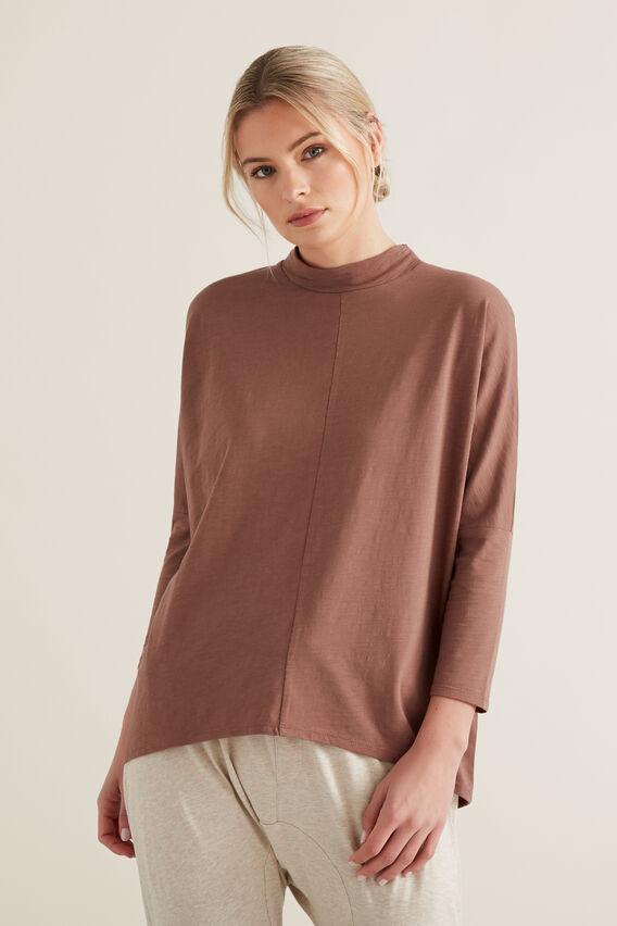 Mock Neck Slub Top  WASHED ROSE  hi-res