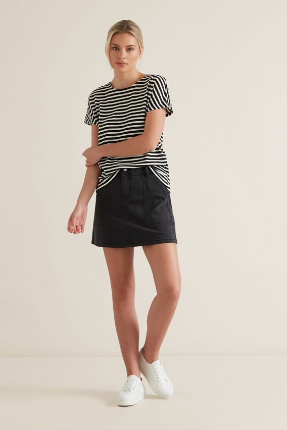 Textured Striped T Shirt  BLACK STRIPE  hi-res