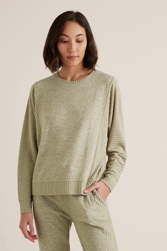 Rib Slouchy Sweat  WASHED OLIVE MARLE  hi-res