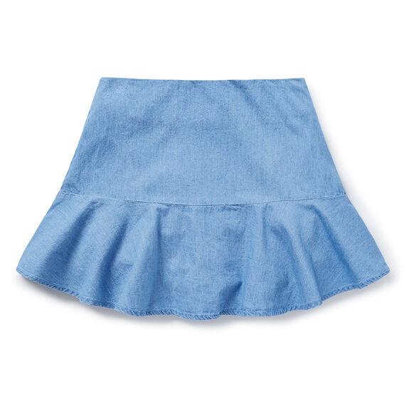 Chambray Flutter Skirt  CHAMBRAY  hi-res