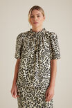 Animal Print Blouse, KHAKI ANIMAL, hi-res