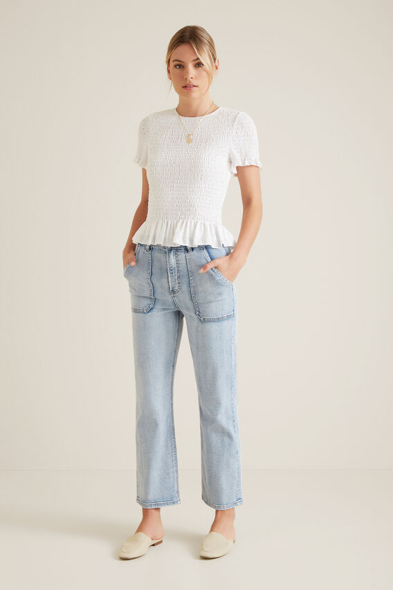 Shirred Frill Top  WHISPER WHITE  hi-res
